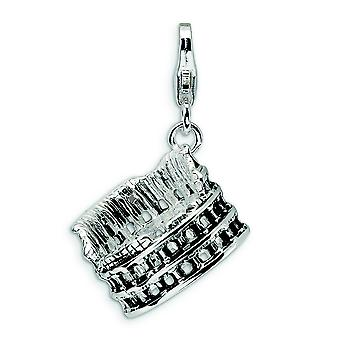 Sterling Silver 3D vieilli Colliseum Lobster Clasp charme - 3,8 grammes - mesures 29x15mm