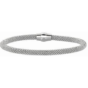 磁気クラスプ ロジウム フィニッシュ 4.8 mm 光沢のあるビーズのブレスレット スターリング シルバー 7.5 インチ