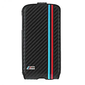 BMW M Flip Leather Case Cover for Samsung i9500 Galaxy S4 BMFLS4MC carbonschwarz