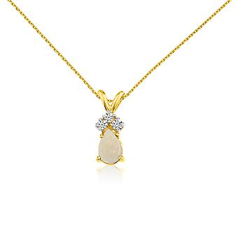 14k Yellow Gold Opal Pear Pendant with Diamonds and 18