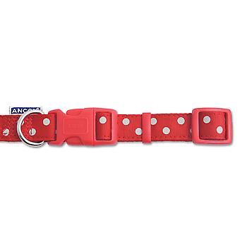 Indulgence Nylon Adjustable Collar Vintage Polka Red 30-50cm Sz 2-5