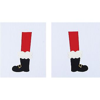 Santas laarzen benen voeten Kerst vakantie wafel Weave keuken handdoeken Set van 2