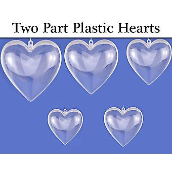 Quality Fillable Two-Part Transparent Plastic Hearts - Various Size Options