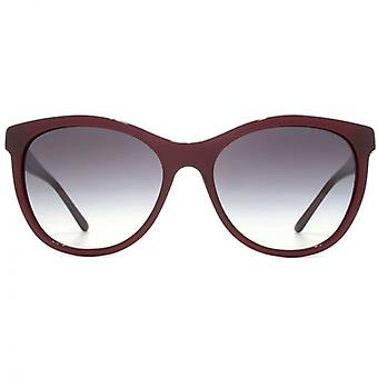 Burberry Cateye Stripe Temple Sunglasses In Bordeaux