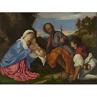 Titian - The Holy Family with a Shepherd Poster Print Giclee
