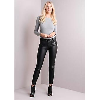 Ribbed Detailing Skinny Leather Trousers Black