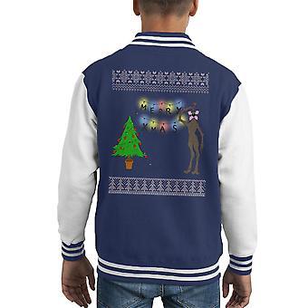 Stranger Things Demogorgon Christmas Knit Pattern Kid's Varsity Jacket