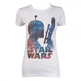 Star Wars Ladies Star Wars Boba Fett Nebula T Shirt White