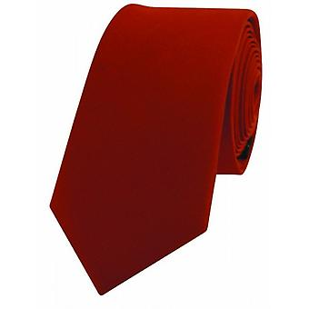 David Van Hagen Luxury Thin Satin Silk Tie - Burnt Orange