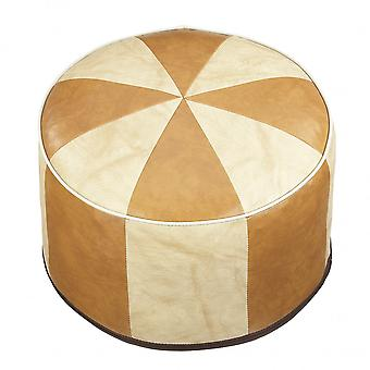Seat cushion Pouffe Oriental pillow around faux leather light brown/light beige flamed width 50 cm, height, 34 cm