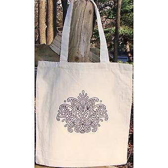 Stamped Canvas Tote To Color-Lotus 98118T