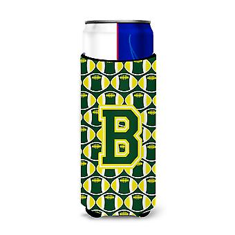Letter B Football Green and Yellow Ultra Beverage Insulators for slim cans