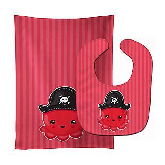 Морских пиратский Осьминог красный ребенок нагрудник & Берп Ткань