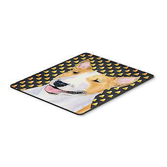 Bull Terrier Candy Corn Halloween Portrait Mouse Pad, Hot Pad or Trivet