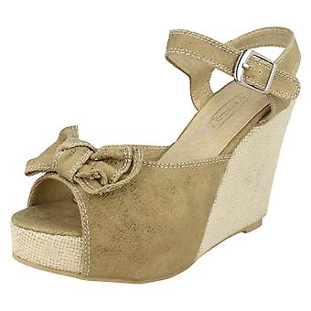 Ladies Spot On Open Toe Wedge Sandals