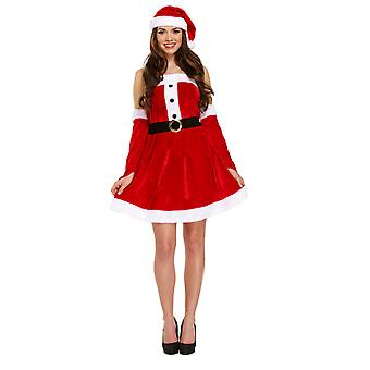 Adult Female Sexy Santa Christmas Fancy Dress Costume -One Size
