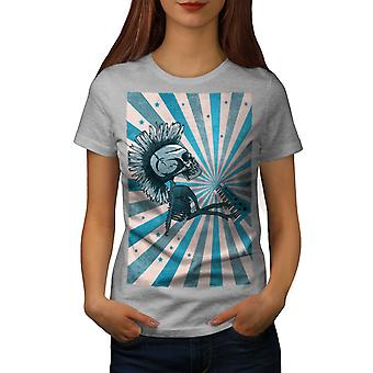 Punk Music Skeleton Skull Women GreyT-shirt | Wellcoda