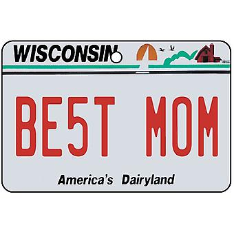 Wisconsin - Best Mom License Plate Car Air Freshener