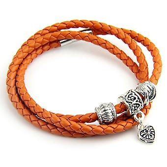 Triple Braided Leather Charm Bracelet Pi0312