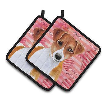 Carolines Treasures  BB9776PTHD Jack Russell Terrier Love Pair of Pot Holders