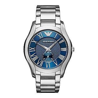 Emporio Armani Mens Gents klocka Silver rostfritt stål armband blå urtavla AR11085
