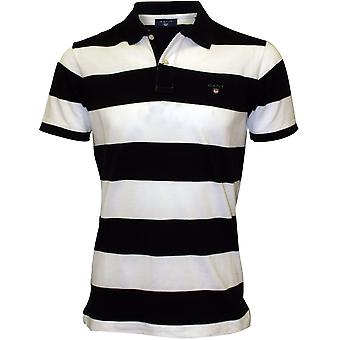 Bar di Gant Stripe Polo camicia Pique Rugger, Navy/White