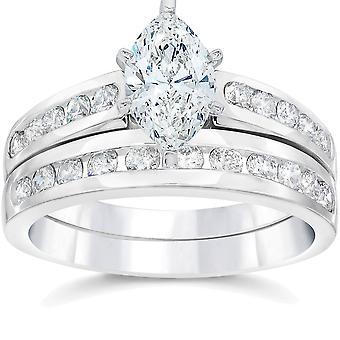 2 カラット侯爵拡張ダイヤモンド婚約結婚指輪セット ホワイトゴールド 14 カラット