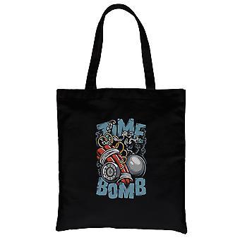 Time Bomb Black Canvas Shoulder Bag