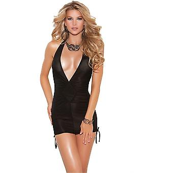 Elegant Moments EM-8252 Deep V halter neck mini dress also plus sizes
