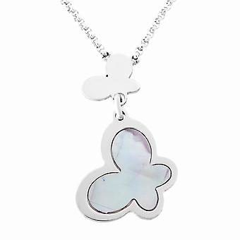 Orphelia Silver 925  Necklace Multiple Butterfly Pink Mop  ZK-7170