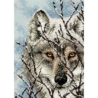 Gold Petite Wolf Counted Cross Stitch Kit-5