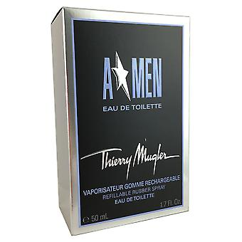 A Men Rubber Flask for Men By Thierry Mugler 1.7 oz EDT Refillable