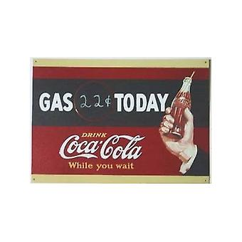 Signo de pared de la lata de Coca Cola '' Gas hoy ''