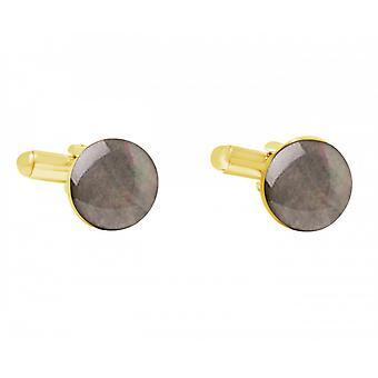 Män - manschettknappar - guldpläterad 12 mm - pärlemor - grå-