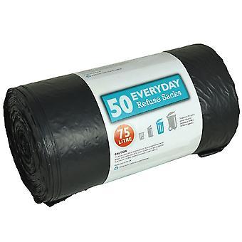 5 X Kingfisher 50 Heavy Duty Dustbin Liners Bin Bags Refuse 75 Litre Size Sacks
