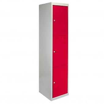 Metal Storage Lockers - Three Doors, Flatpacked, Red