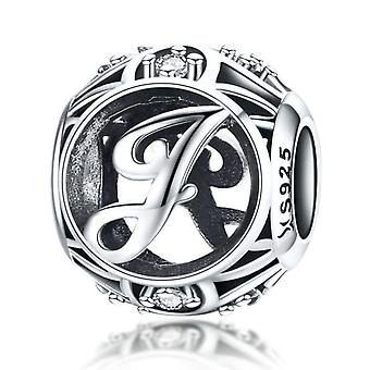 Sterling silver alphabet charm with zirconia stones letter J