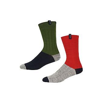 Ben Sherman Men's 2 Pack Thick Boot Socks Khaki Navy Grey Red Colour Lad