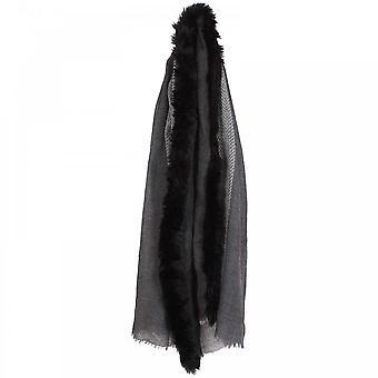 Ombre Faux Fur Trim Wool Scarf