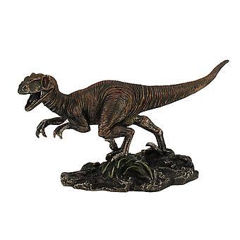 Zeer gedetailleerde Velociraptor dinosaurus gebronsd standbeeld handgeschilderde Raptor