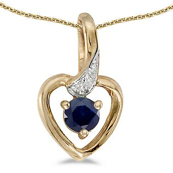 10k Yellow Gold Round Sapphire And Diamond Heart Pendant with 18