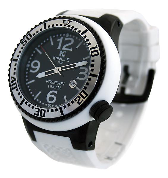 Waooh - Montre Kienzle 720 3054 - Bracelet silicone blanc - Cadran noir - Boîte noire & blanche - Lunette noire & silver