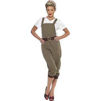 WW2 Land meisje kostuum, kaki, met Top, werkbroeken en hoofddoek