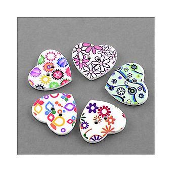 Pakke 20 x hvid/blandet træ 25mm hjerte 2-hul mønstrede sy på knapper Y09220