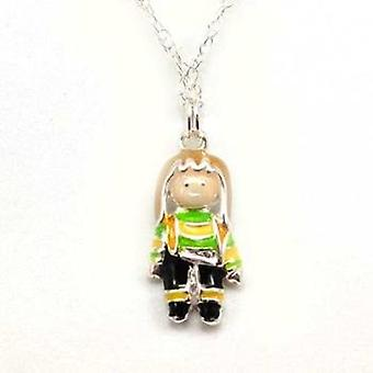 Toc Sterling Silver Kids Little Girl Enamel Pendant on 16 Inch Chain