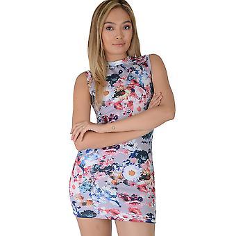Lovemystyle lilas col haut Bodycon Dress avec imprimé Floral - échantillon