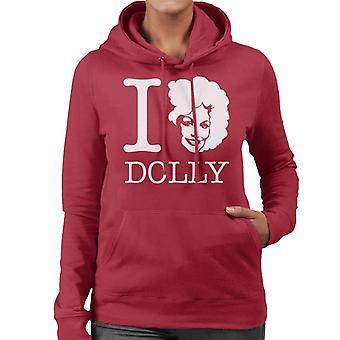 Ich liebe Dolly Parton weiße Frauen des Kapuzen-Sweatshirt