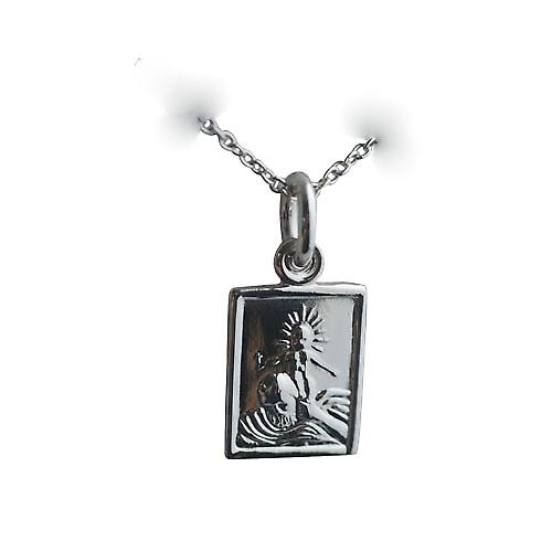 Silver 12x10mm rectangular St Christopher Pendant or Charm with a rolo Chain 14 inches Only Suitable for Children