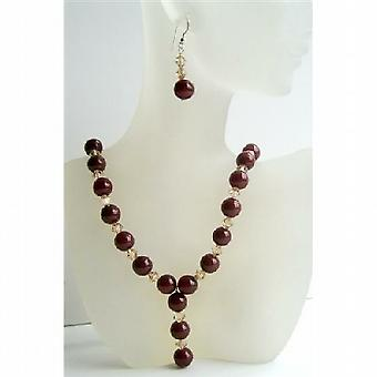 Carnelian Beads Jewelry Swarovski Ceylon Crystals Necklace & Earrings