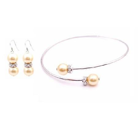 Gold Pearls Jewelry Gift Bridal Bright Gold Pearls Bangle & Earrings